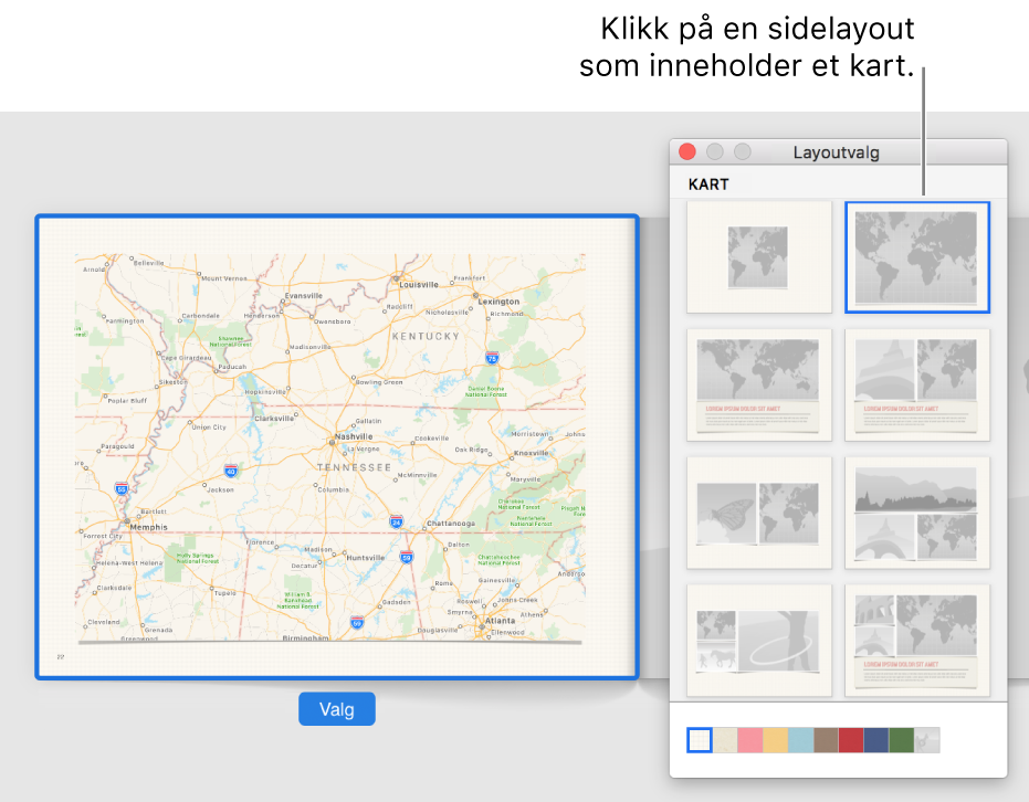 Layoutvalg-vindu som viser kartlayouter.