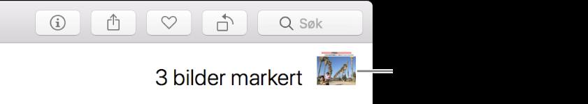 Markeringsindikator som viser tre markerte bilder.