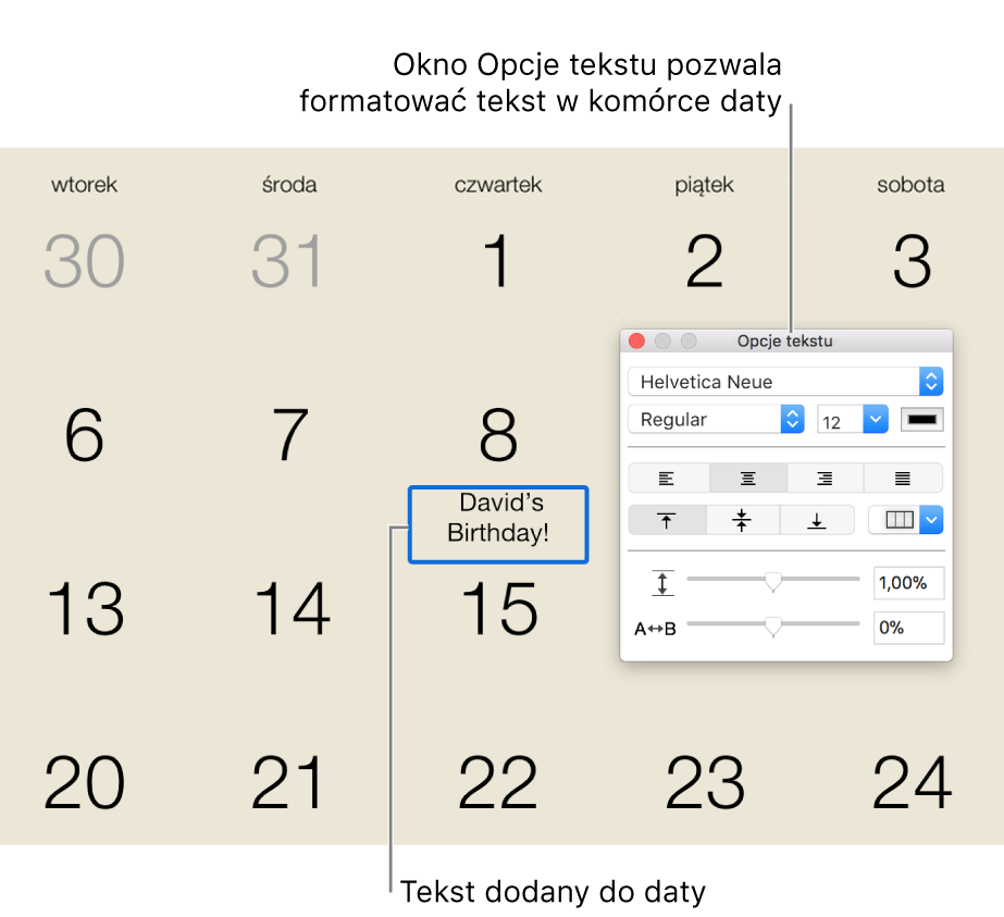 Data w kalendarzu zdodanym tekstem oraz okno Opcje tekstu po prawej.