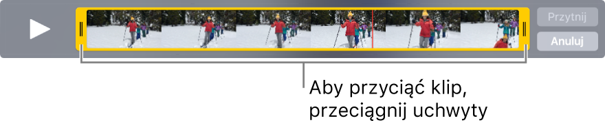 Żółte uchwyty przycinania klipu wideo