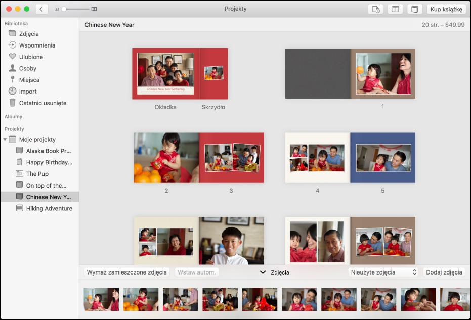 Okno aplikacji Zdjęcia zawierające strony książki.