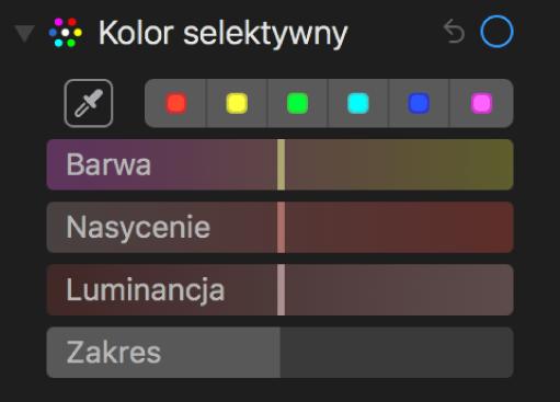 Narzędzie Kolor selektywny oraz suwaki Barwa, Nasycenie iLuminancja.