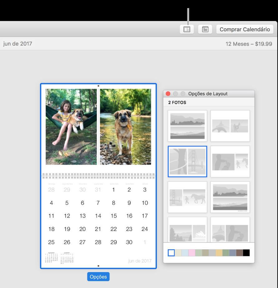 """Página do calendário à esquerda com a janela """"Opções de Layout"""" à direita, mostrando layouts de páginas."""