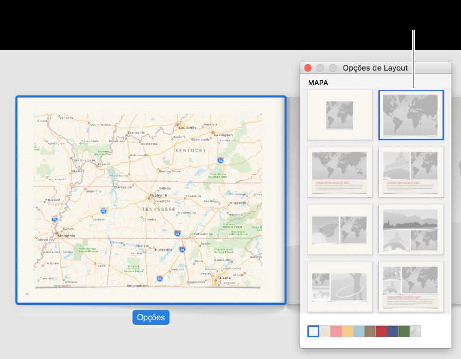 "Janela ""Opções de Layout"" mostrando layouts de mapa."
