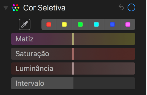 Os controles de Cor Seletiva exibindo os controles Matiz, Saturação, Luminância e Intervalo.