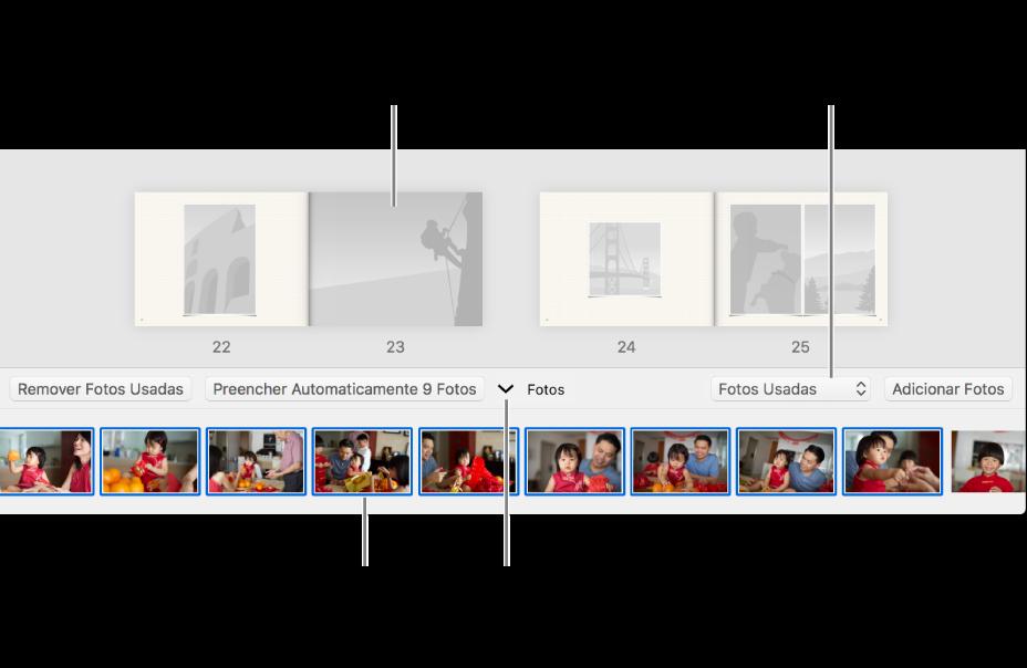Janela do Fotos exibindo páginas de um livro com a área de Fotos na parte inferior.