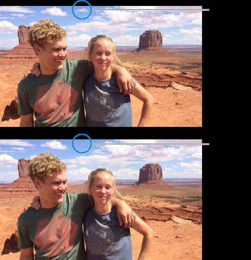 Uma fotografia com pequenas marcas visíveis antes de ser retocada, e depois dos retoques sem marcas.