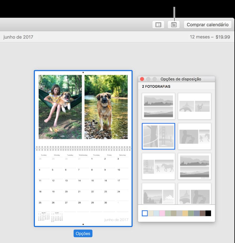 """Página do calendário à esquerda, com a janela """"Opções de disposição"""" à direita a mostrar as disposições de página."""