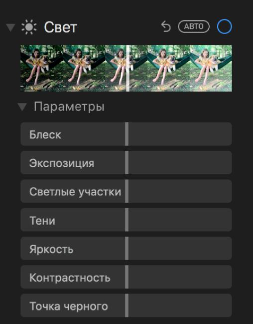 Область «Свет» панели «Коррекция» с бегунками «Осветление», «Экспозиция», «Светлые участки», «Тени», «Яркость», «Контрастность» и «Точка черного».