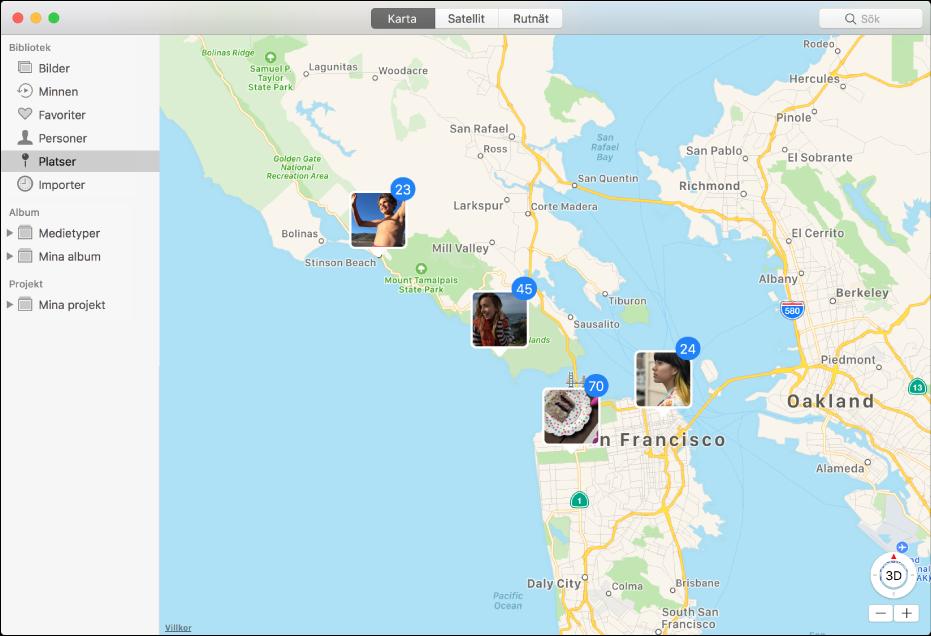 Fönstret Bilder med en karta med bildminiatyrer grupperade efter plats.
