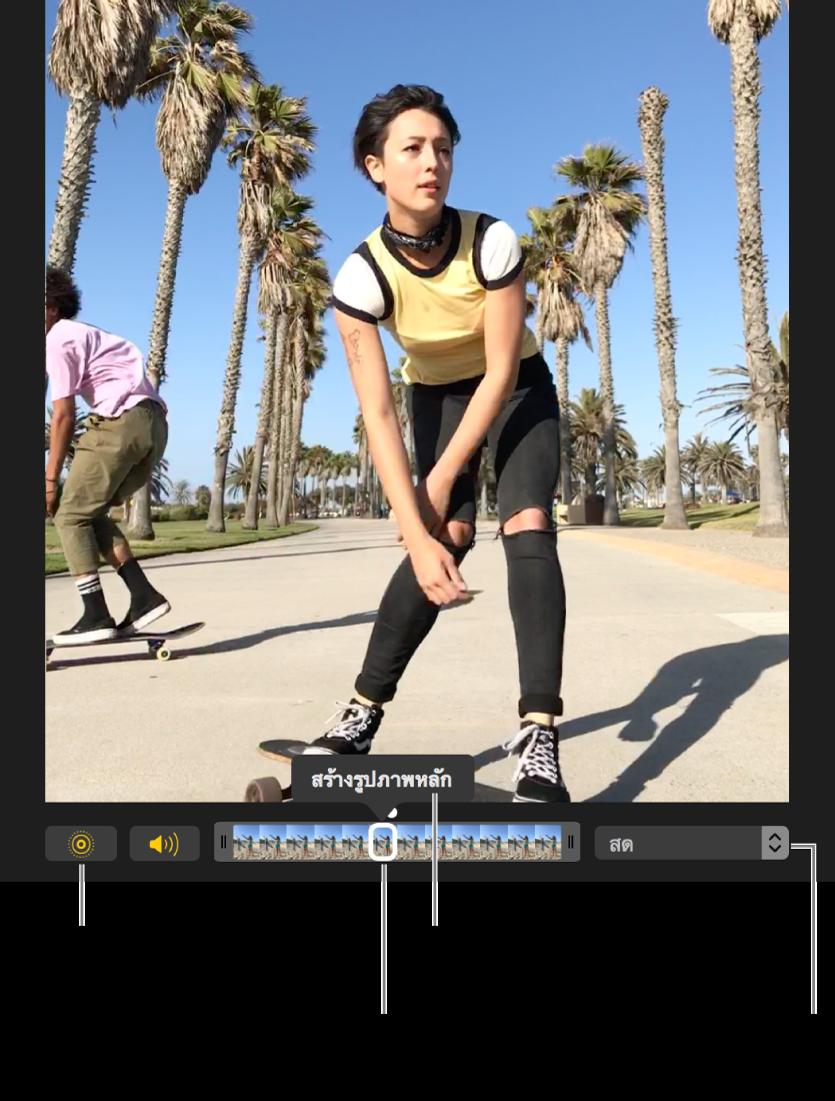 Live Photo ในมุมมองการแก้ไขโดยมีแถบเลื่อนอยู่ด้านใต้นั้นซึ่งแสดงกรอบของรูปภาพปุ่ม Live Photo และปุ่มลำโพงอยู่ทางซ้ายของแถบเลื่อน และทางขวาคือเมนูป๊อปอัพที่คุณสามารถใช้ในการเพิ่มเอฟเฟ็กต์เล่นวน เด้ง หรือเปิดรับแสงนาน
