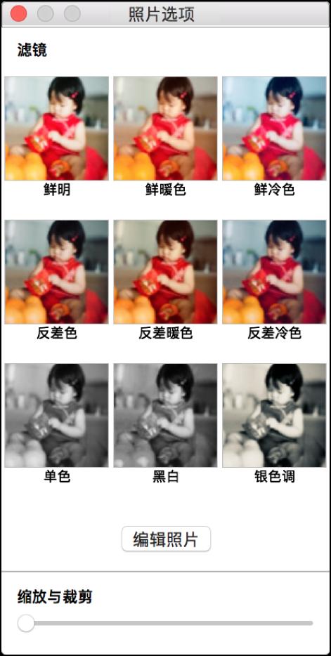 """顶部包含边框选项的""""照片选项""""窗口。"""
