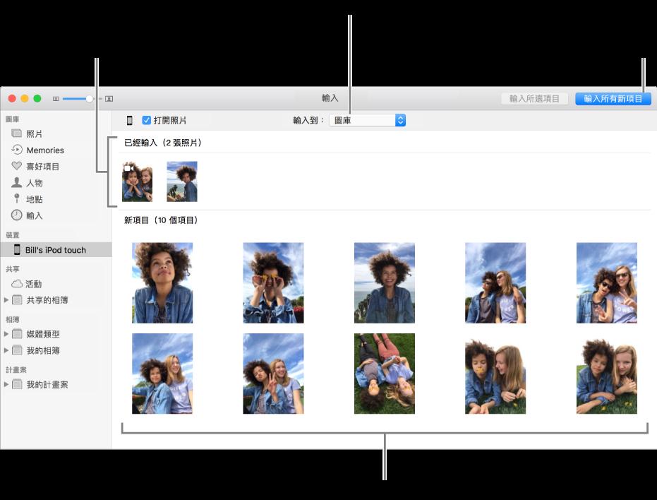 您已從裝置輸入的照片會顯示在面板最上方;新照片位於底部。最上方中間是「輸入到」彈出式選單。「輸入所有新照片」按鈕位於右上角。
