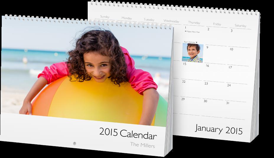 沖印和裝訂的月曆。