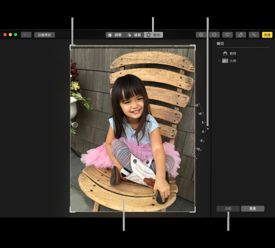 顯示照片的視窗,其中含有裁切和校正選項。