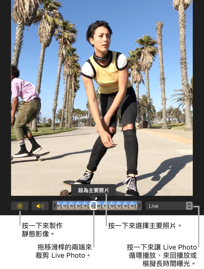 編輯畫面中的 Live Photo 下方有個滑桿,顯示照片的影格。Live Photo 按鈕和「揚聲器」按鈕位於滑桿左側,右側則為用來加入循環播放、來回播放或長時間曝光效果的彈出式選單。