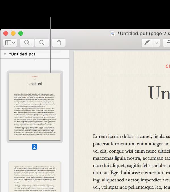 Un fichier PDF avec des vignettes affichées dans la barre latérale.