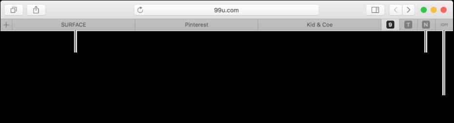 المواقع المثبتة في شريط علامات تبويب Safari.