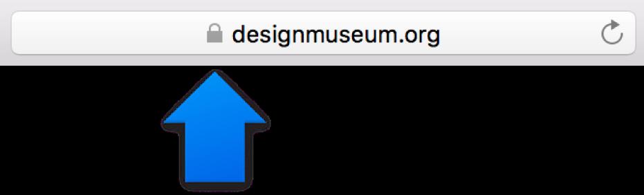 Symbolet for kryptering (ligner en lås) til et websted med et standardcertifikat.