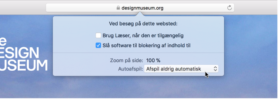 En menu fra det smarte søgefelt, der viser indstillinger til det aktuelle websted.