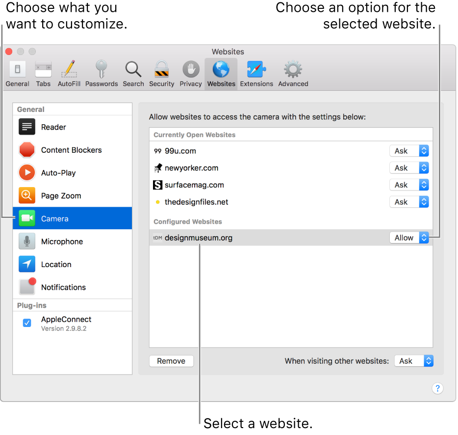 The Websites pane of Safari preferences, where you can customize how you browse individual websites.