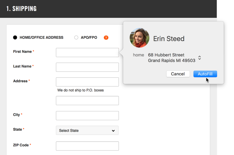 A shipping form with a contact card displayed and AutoFill available.
