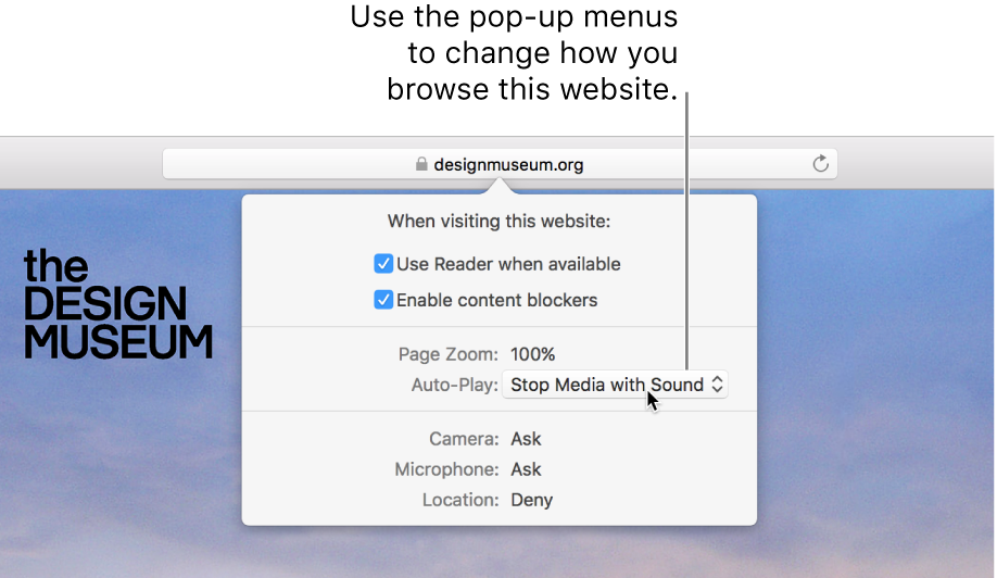 The dialog that appears below the Smart Search field when you choose Safari > Settings for This Website. The dialog contains choices for customizing how you browse the current website, including using Reader view, enabling content blockers, and more.