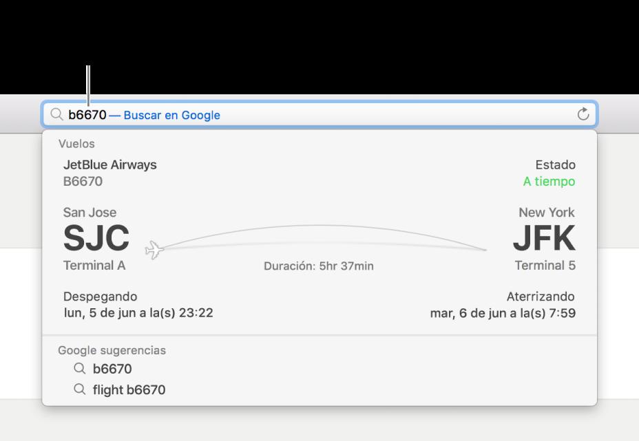 Un número de vuelo ingresado en el campo de búsqueda inteligente, con el estado del vuelo mostrado directamente abajo.