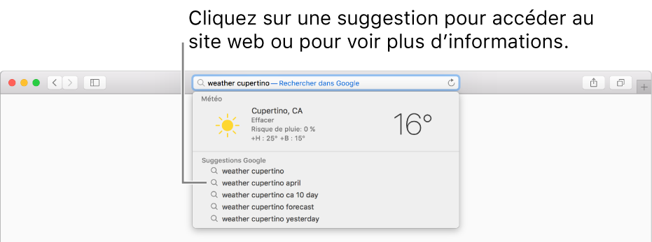 L'expression de recherche «météo à Cupertino» saisie dans le champ de recherche intelligente, accompagnée des résultats des suggestions Safari.
