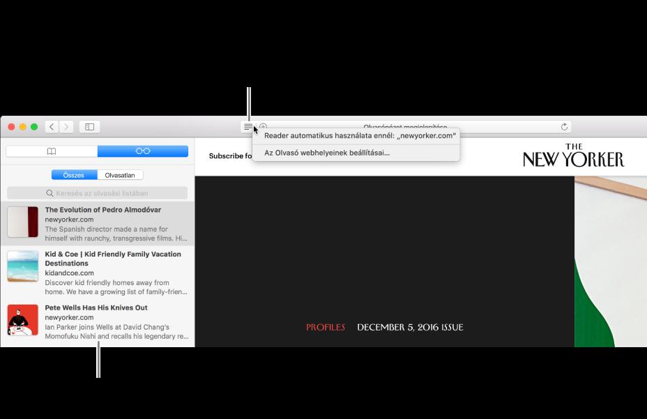 Safari-ablak a megjelenített Olvasási listával.