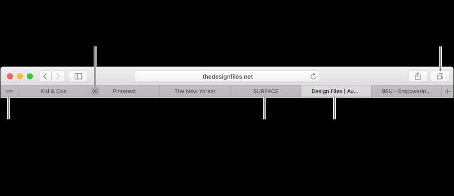 Jendela Safari dengan tab.