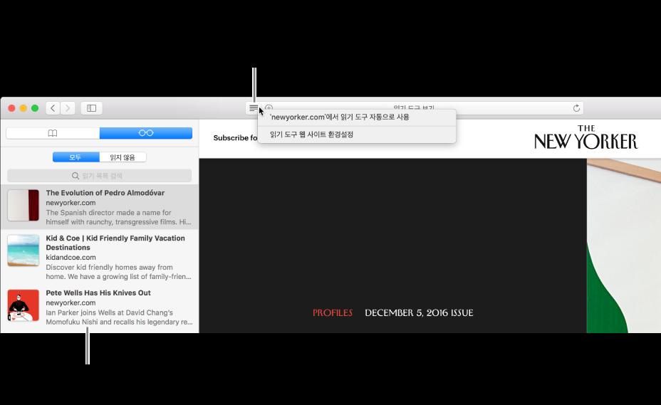 읽기 목록이 표시된 Safari 윈도우.