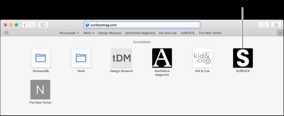 Het adres- en zoekveld van Safari, met daaronder de symbolen van favoriete websites.
