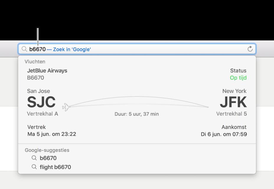 Een vluchtnummer dat is ingevoerd in het slimme zoekveld, met de status van de vlucht er direct onder.