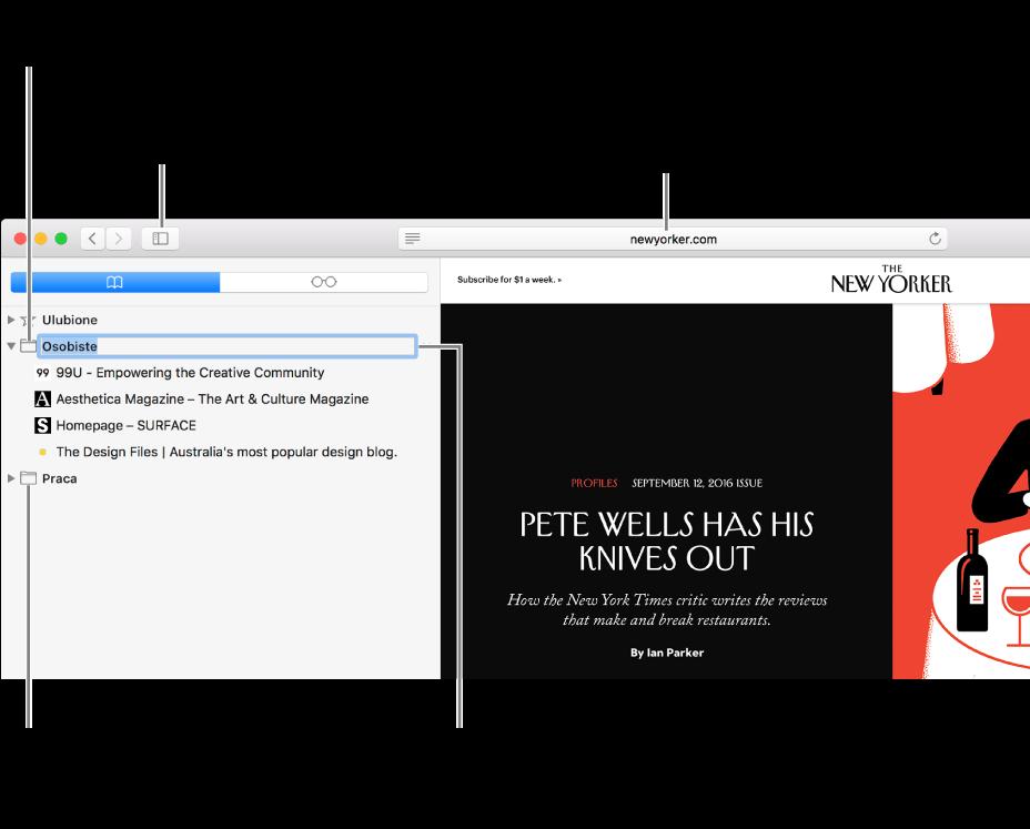 Okno Safari zzakładkami na pasku bocznym. Jedna zzakładek jest zaznaczona do edycji.