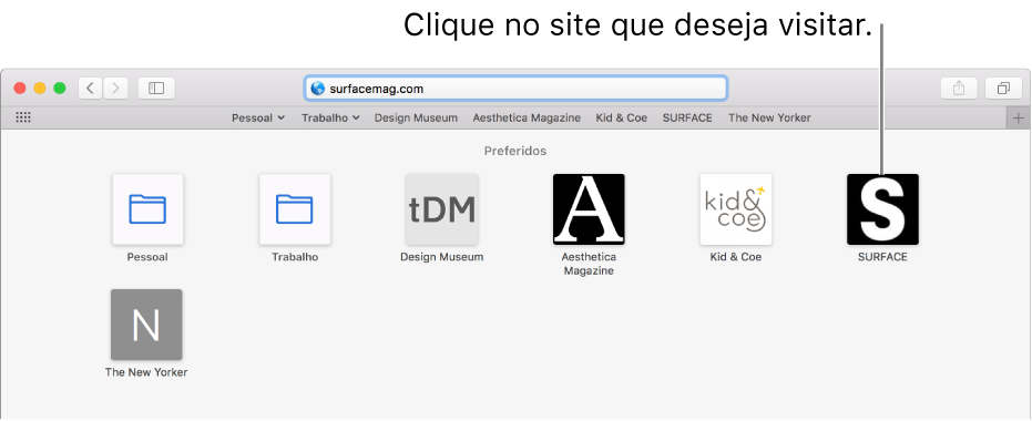 O campo de Busca Inteligente; abaixo, ícones dos sites preferidos.