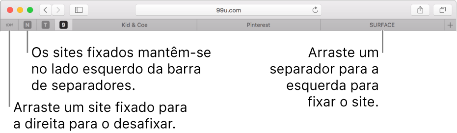 Sites afixados na barra de separadores do Safari.