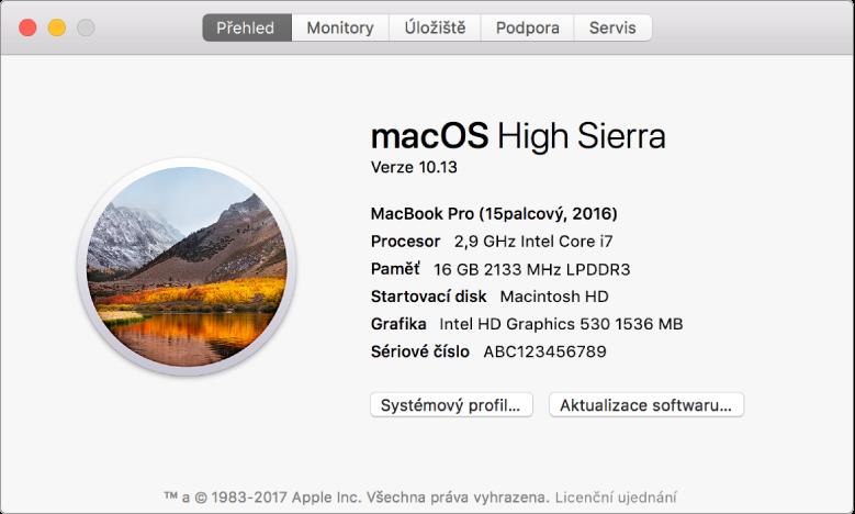 Panel Přehled vInformacích osystému obsahuje základní údaje ohardwaru asoftwaru asériové číslo vašeho Macu.