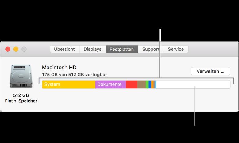 Wenn du den Zeiger auf eine Farbe bewegst, wird angezeigt, wie viel Speicherplatz die jeweilige Kategorie belegt. Der weiße Bereich repräsentiert den verfügbaren Speicherplatz.