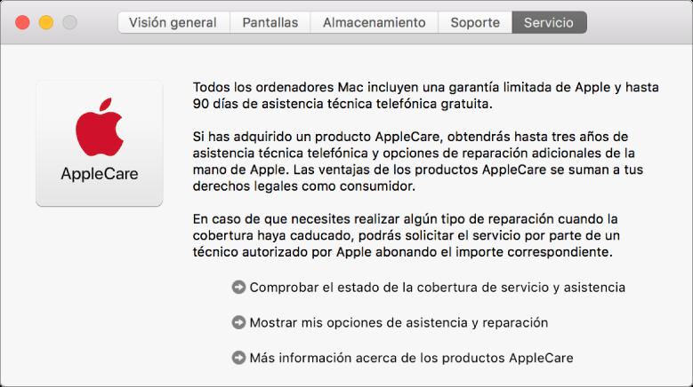 El panel Servicio de Información del Sistema, con las opciones de servicio de AppleCare.
