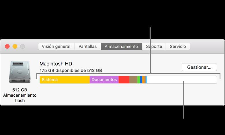 Mueve el puntero sobre un color para ver la cantidad de espacio que usa cada categoría. El blanco representa el espacio de almacenamiento disponible.
