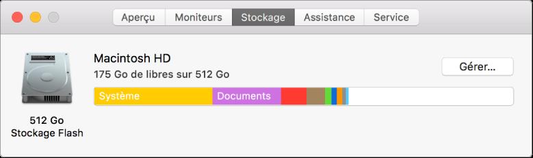 Sous-fenêtre Stockage d'Informations système, affichant une représentation graphique de votre stockage.