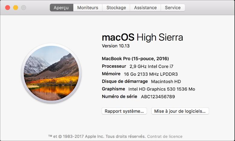 La sous-fenêtre Aperçu d'Informations système affiche des spécifications matérielles et logicielles de base, ainsi que le numéro de série de votre Mac.