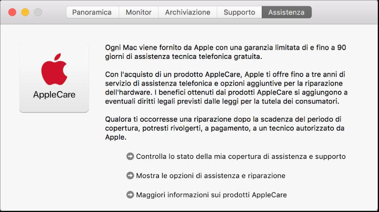 Il pannello Assistenza in Informazioni di sistema, che mostra le informazioni di assistenza AppleCare.