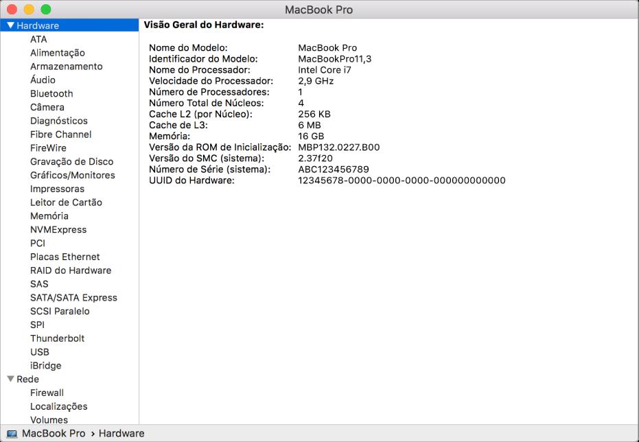 Seção de especificações de hardware de um Relatório do Sistema.