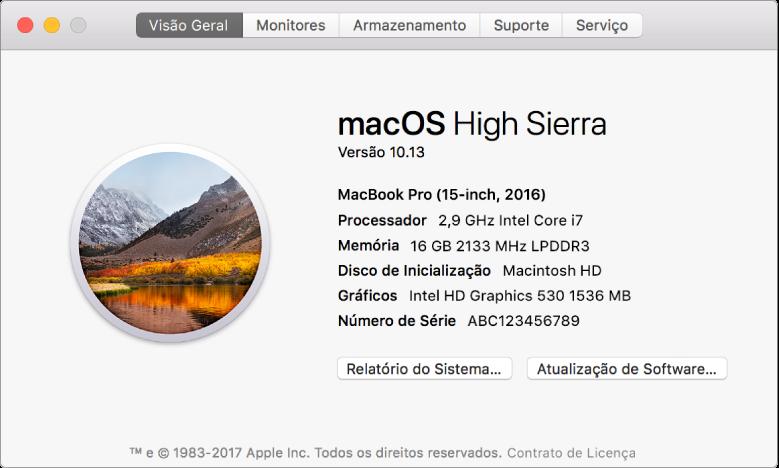 O painel Visão Geral das Informações do Sistema mostra especificações básicas de hardware e software, além do número de série do Mac.