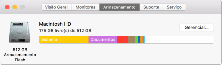 Painel Armazenamento das Informações do Sistema mostrando uma representação gráfica do armazenamento.