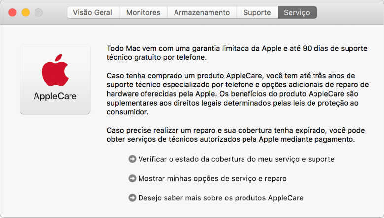 Painel Serviço das Informações do Sistema mostrando as opções de serviço AppleCare.