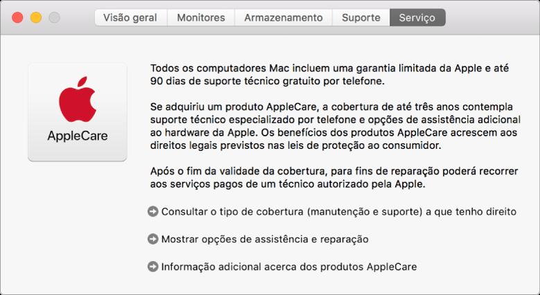 O painel Serviço, na Informação do Sistema, a mostrar as opções de assistência AppleCare.