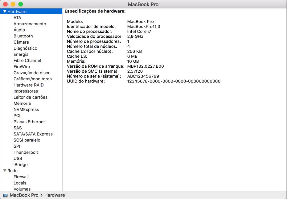 A secção de especificações de hardware num relatório do sistema